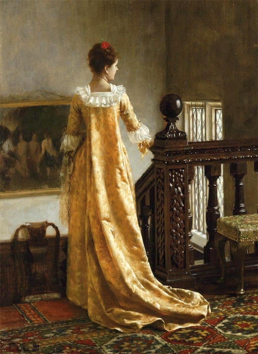 "The Golden Train. Edmund Blair Leighton (English, Pre-Raphaelite, 1853-1922). Oil on panel.     The correct title for this picture is ""Lui sa 'aime elle suit,"" which translates as ""After her love she follows."" It was probably inspired by the interior at 14 Priory Road, Bedford Park, the house and studio to which the artist moved in 1889, two years before he painted this picture. According to the artist's granddaughter the house was replete with richly coloured panelling and Persian carpets."