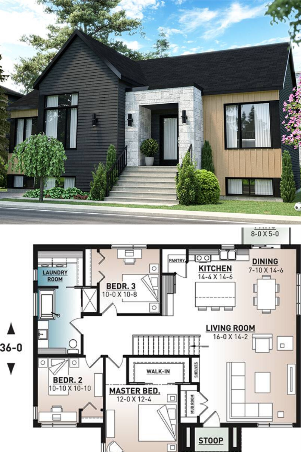 3 Bedroom Single Story Scandinavian Style Home Floor Plan Modern Style House Plans Small House Exteriors Contemporary House Plans
