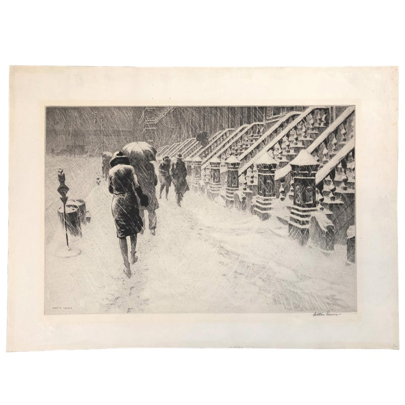 Martin lewis stoops in snow 1930 drypoint prints