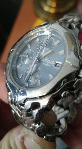 8ae1120da Details about Seiko Chronograph 100M Quartz 7T32 6M49 Men's Silver ...