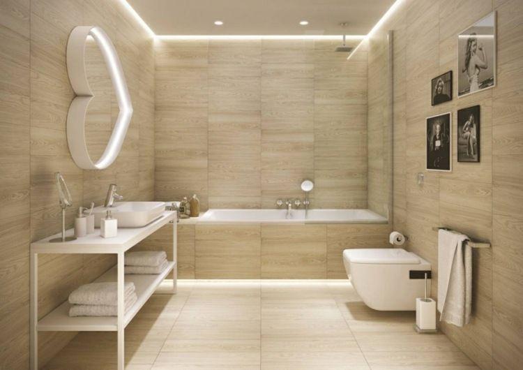 Carrelage salle de bain imitation bois u2013 34 idées modernes - photo faience salle de bain