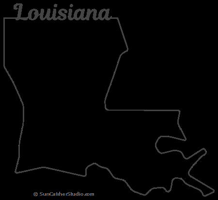Louisiana Map Outline Printable State Shape Stencil Pattern Louisiana Map Louisiana State Outline