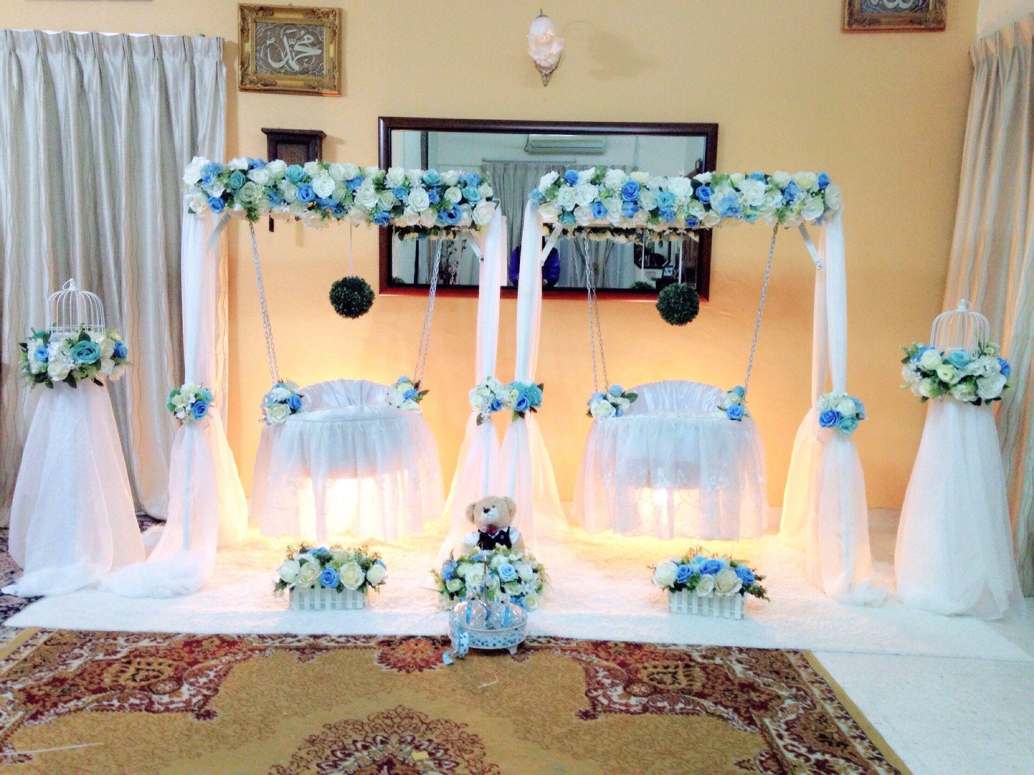 Pelamin buaian berendoi, cukur jambul, pakej aqiqah Swing Cradle, twin  cradle Majlis di · Naming CeremonyDecorationParty