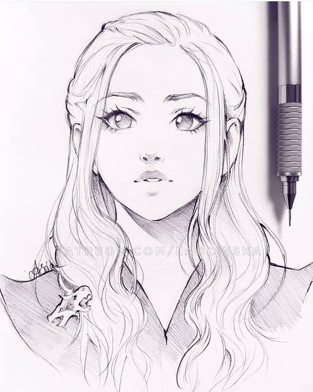 Daenerys Targaryen Khaleesi Game Of Thrones Anime Drawings Sketches Sketches Art Sketches