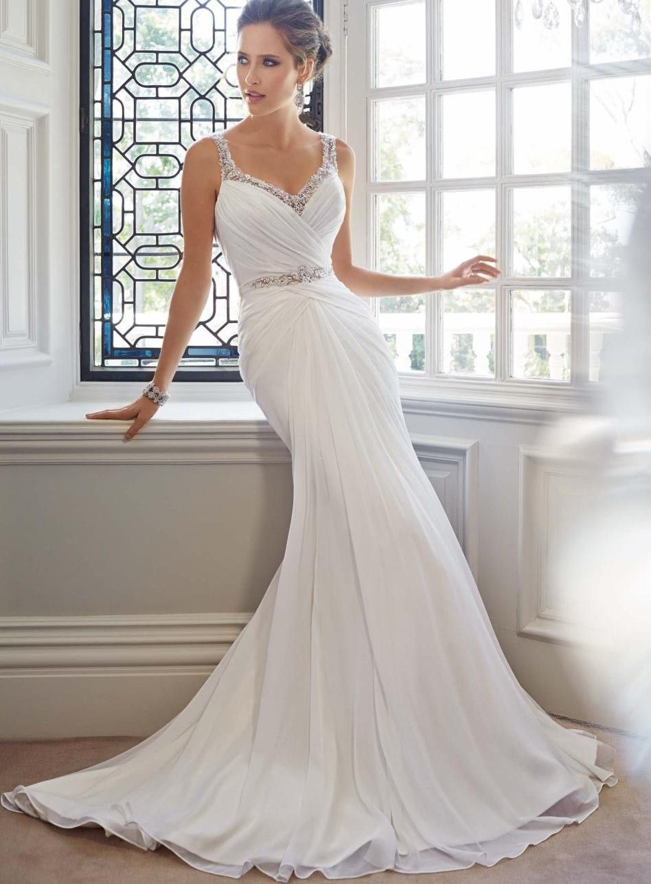 Wedding dress with straps  Mermaid Straps Beading Backless Court Beach Wedding Dress  Wedding