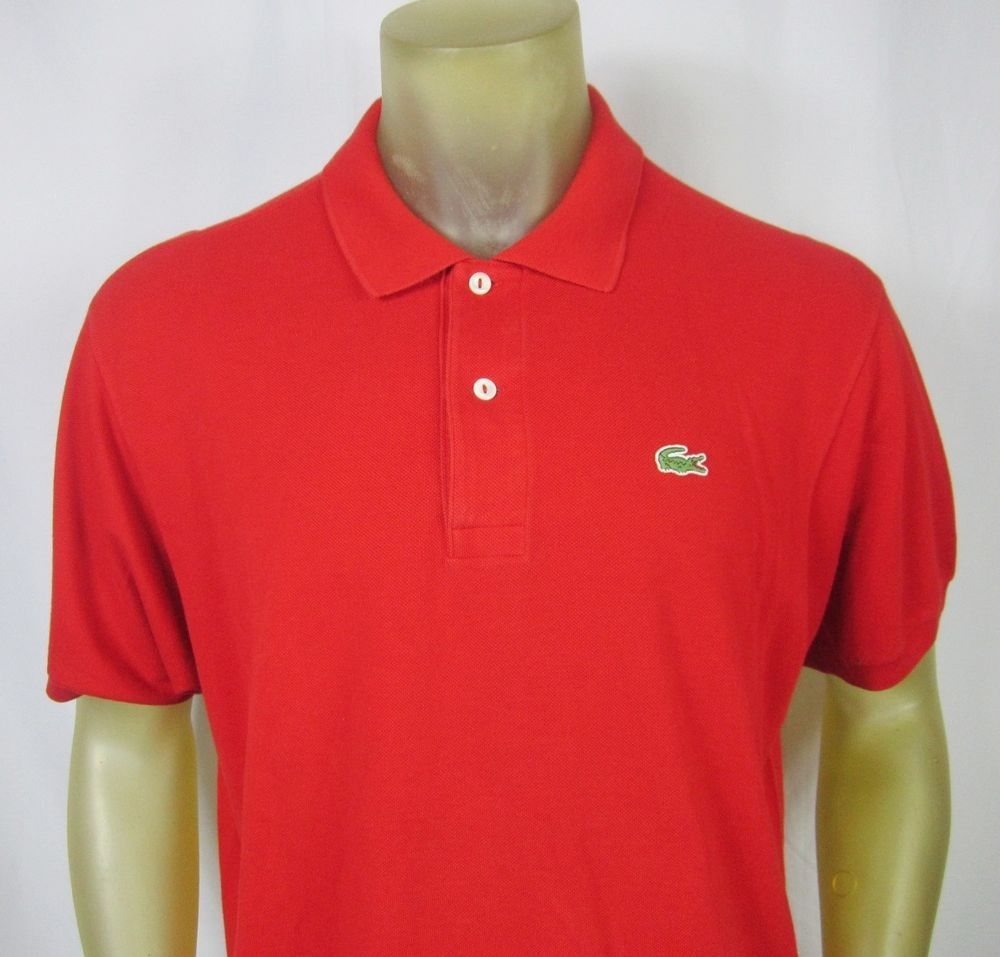 Lacoste Mens Solid Red Polo Shirt Crocodile Logo Eu Size 7 Us Size