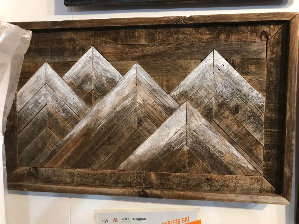 Five Mountain Repurposed Barnwood Wall Art Barnwood Wall Art Mountain Wood Art Wood Art