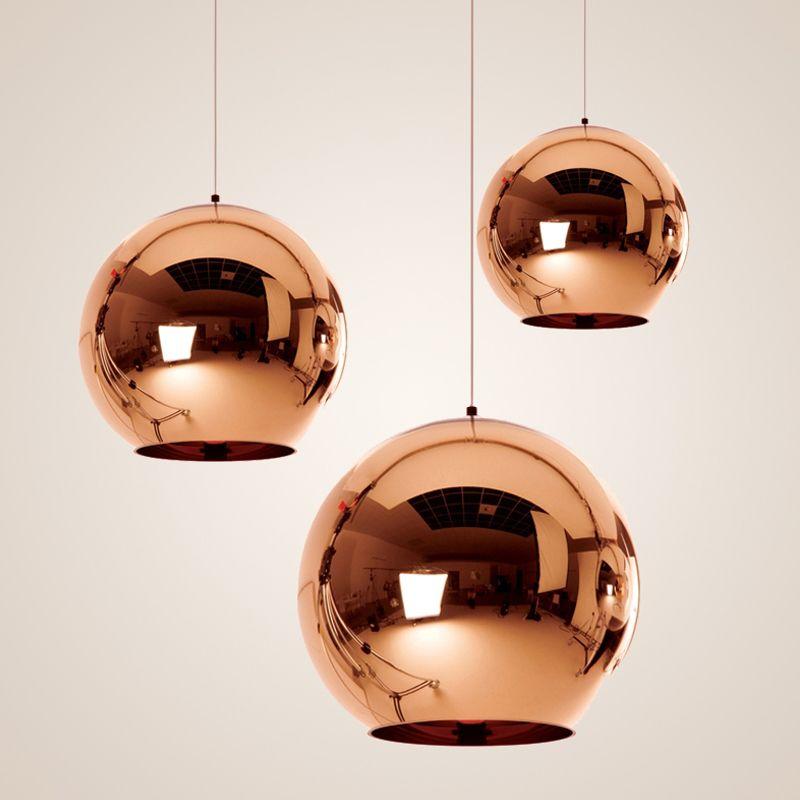 Modern Classic Fashion Tom Dixon Gold Silver Pendant Lamp Mirror Shade Glass Ball E27 Bul Glass Pendant Light Ball Pendant Lighting Glass Ball Pendant Lighting
