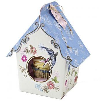 MeriMeri 4 Single Cupcake-Boxen, Vintage, Vogelhäuschen