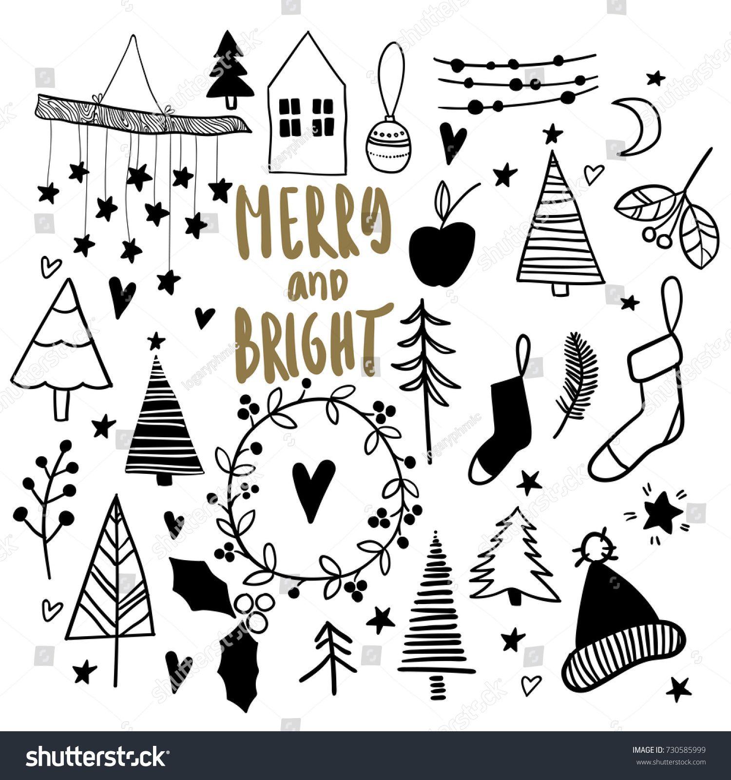 Photo of Стоковая векторная графика «Christmas Doodles Hand Drawn Vector Icons» (без лицензионных платежей), 730585999