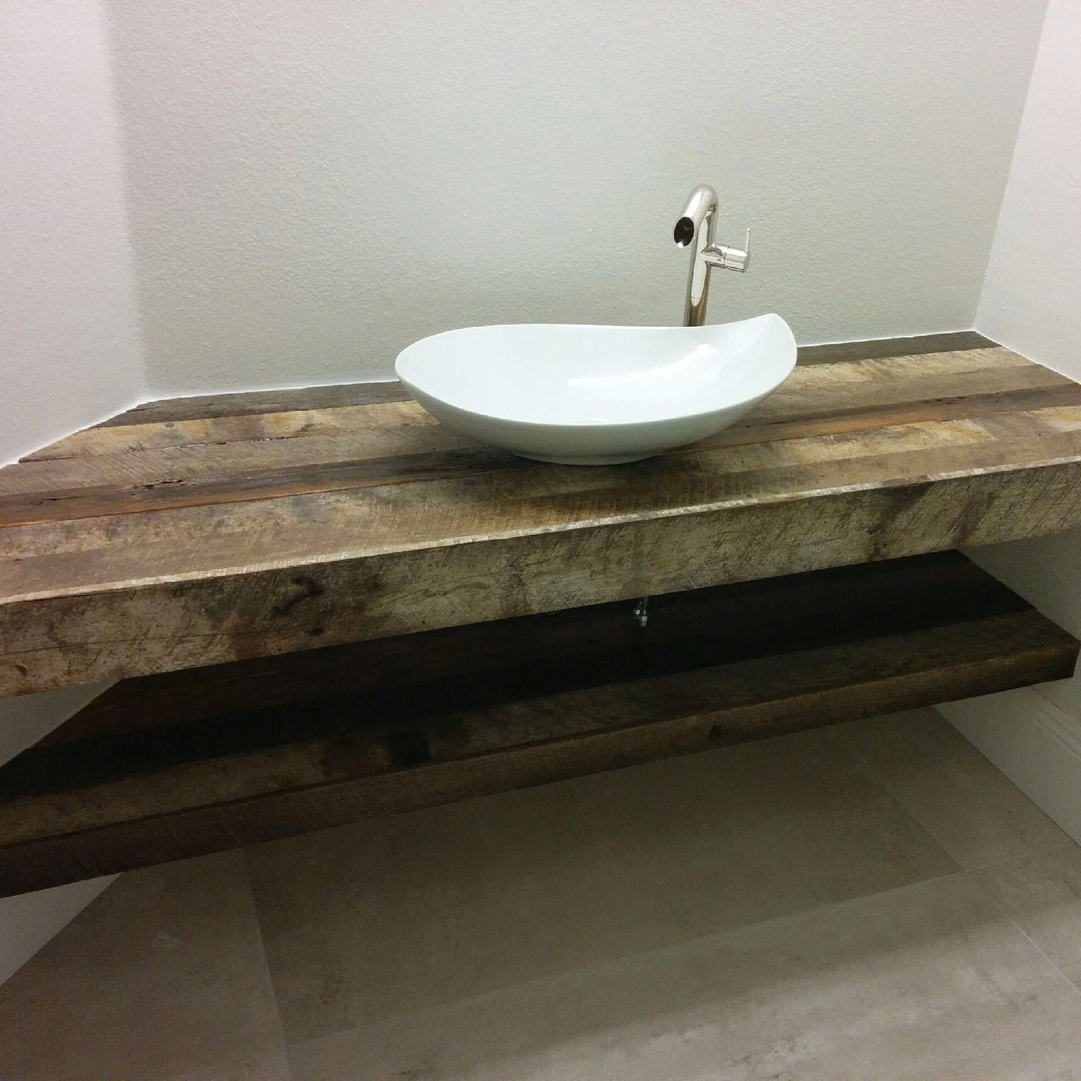 reclaimed wood bathroom countertop