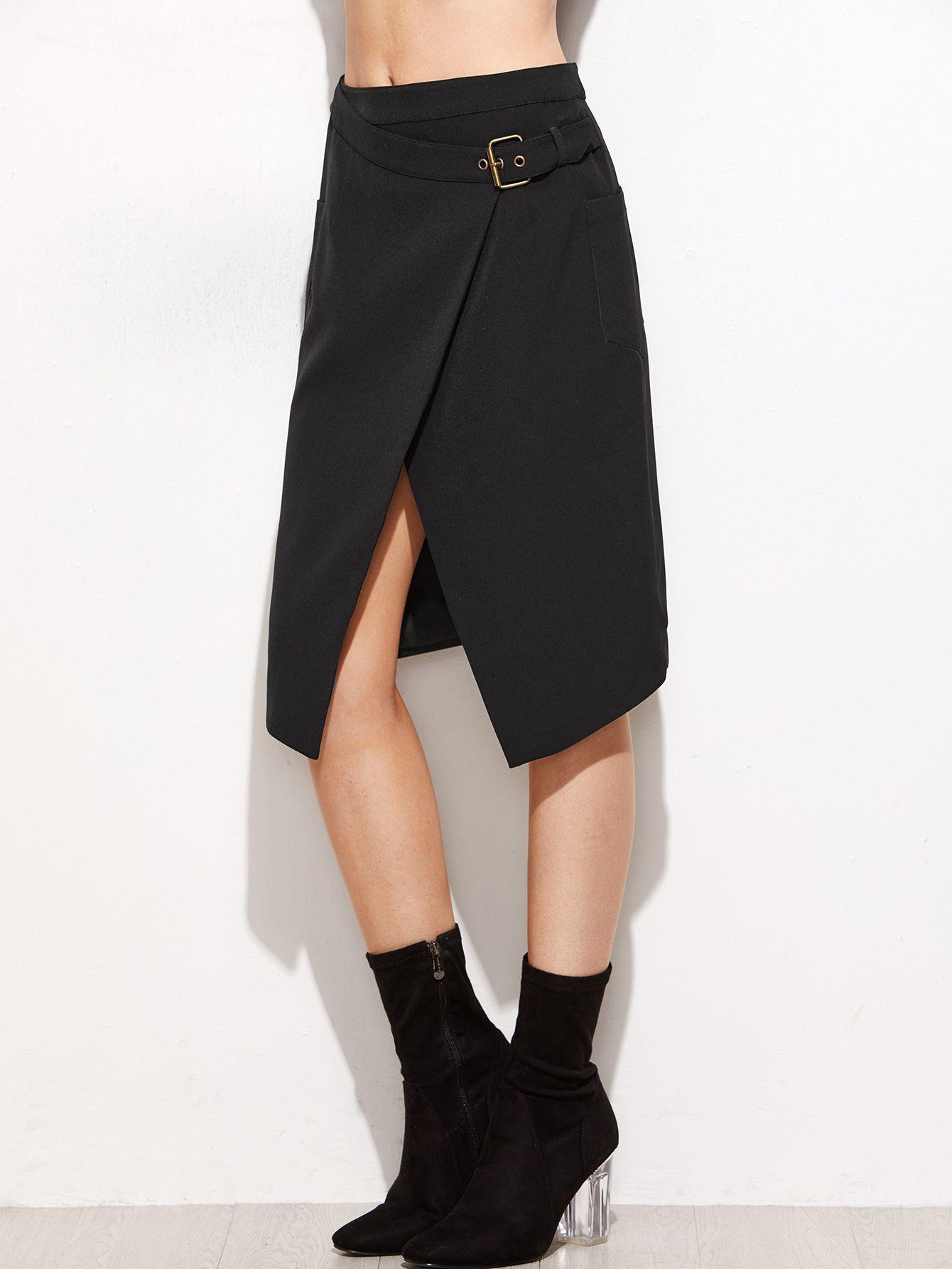 Black Overlap Front Buckle Belted Skirt — 0.00 € ----------------color: Black size: L,M,S,XS