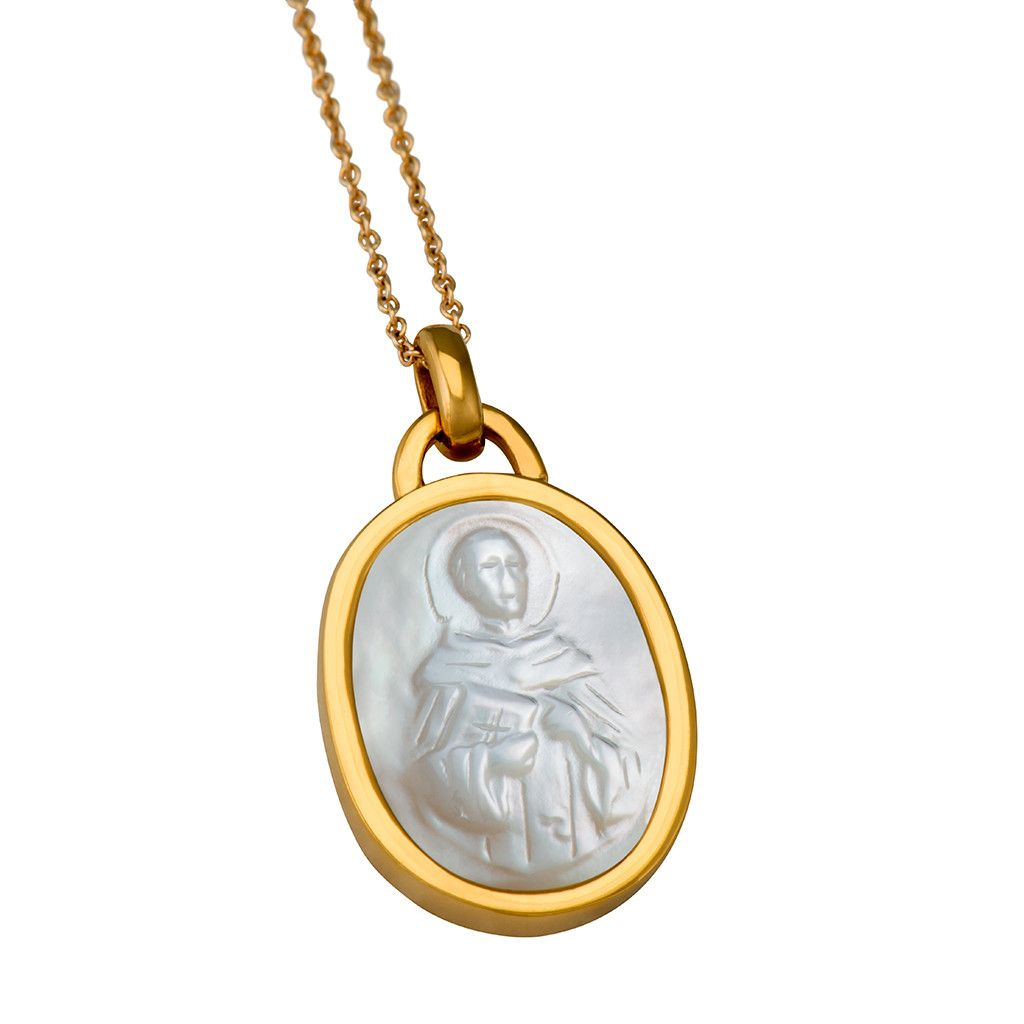 St Jude 14k Gold Plated Mother Of Pearl Charm Necklace Oval