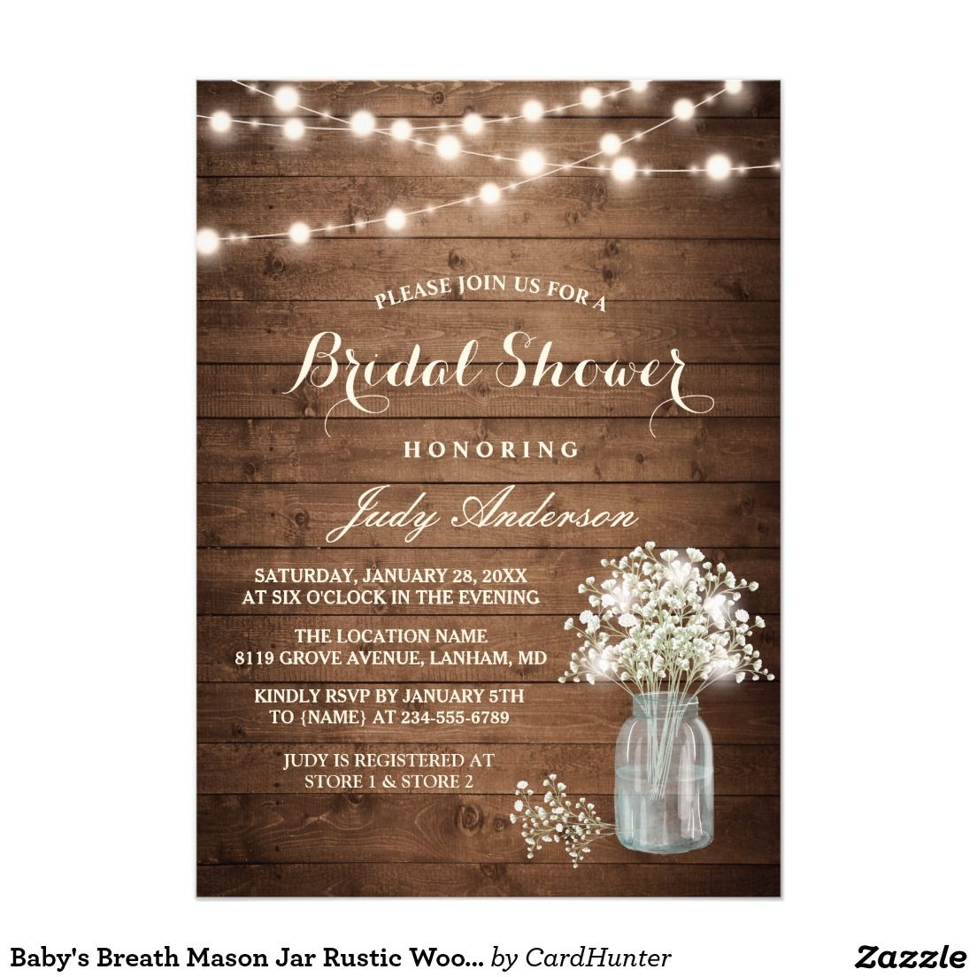couples wedding shower mason jar wood bridal shower invitation