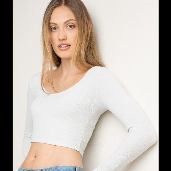 USED white long sleeve Good condition worn twice Brandy Melville Tops Tees - Long Sleeve