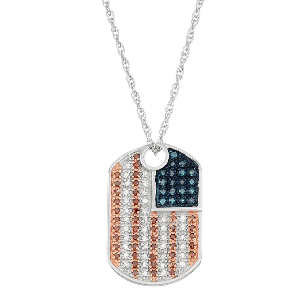 Sterling Silver 1/3 Carat T.W. Red, White & Blue Diamond Dog Tag Necklace, Multicolor
