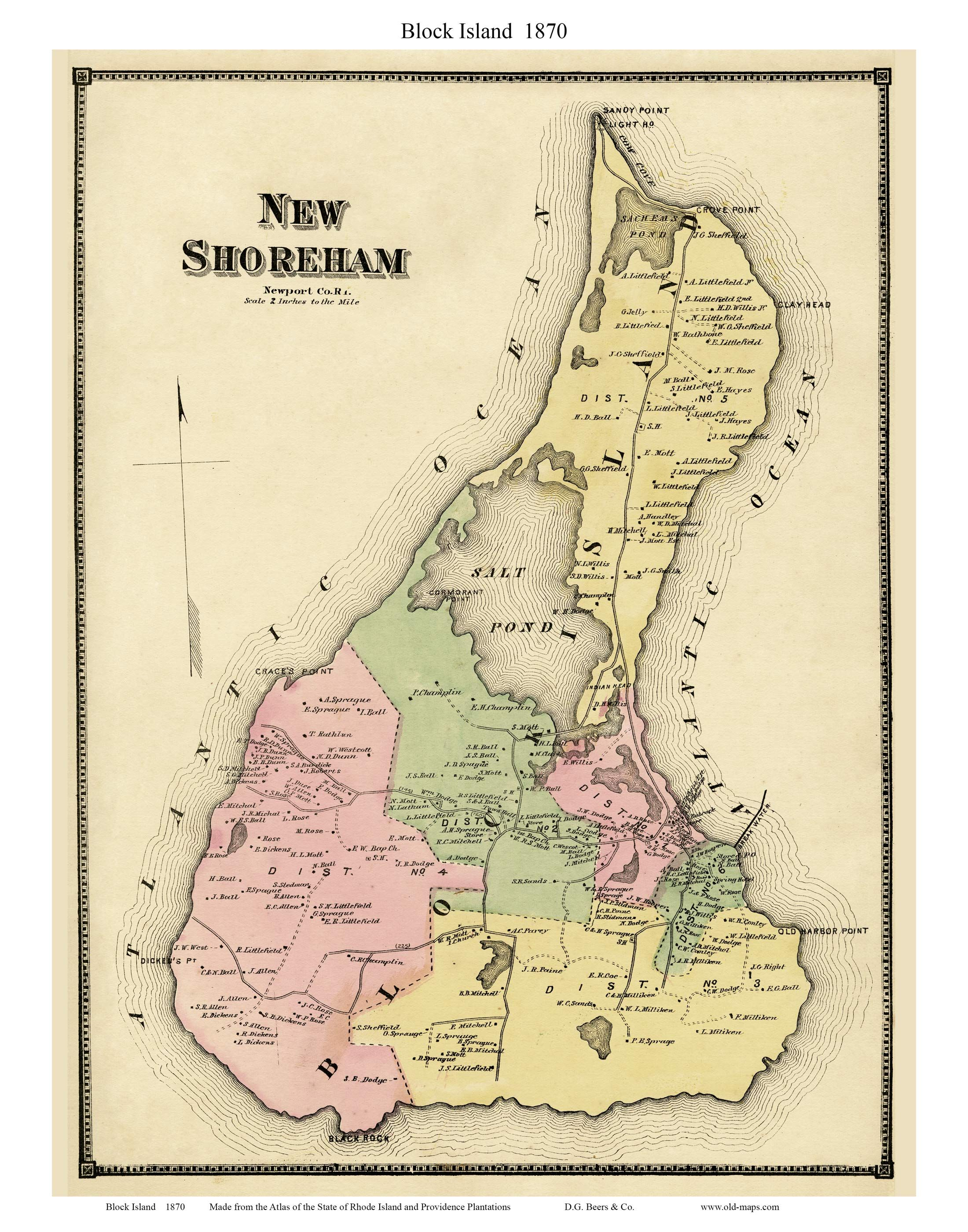 1870 Map of Block Island published by D.G. Beers. This is