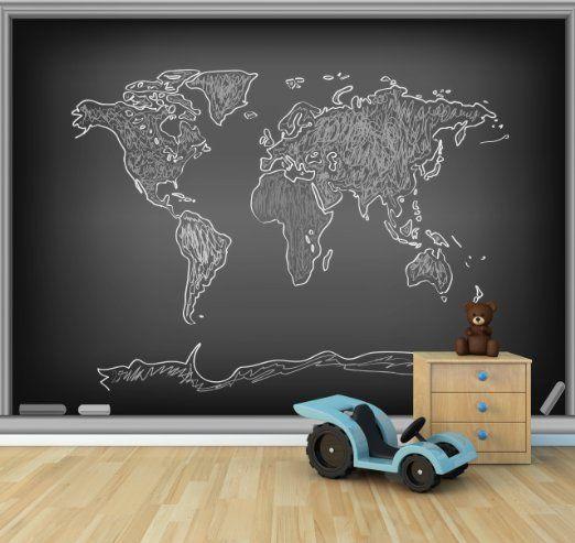 Great Bilderdepot selbstklebende Fototapete Weltkarte Grafik Tafel schwarz weiss x cm direkt vom