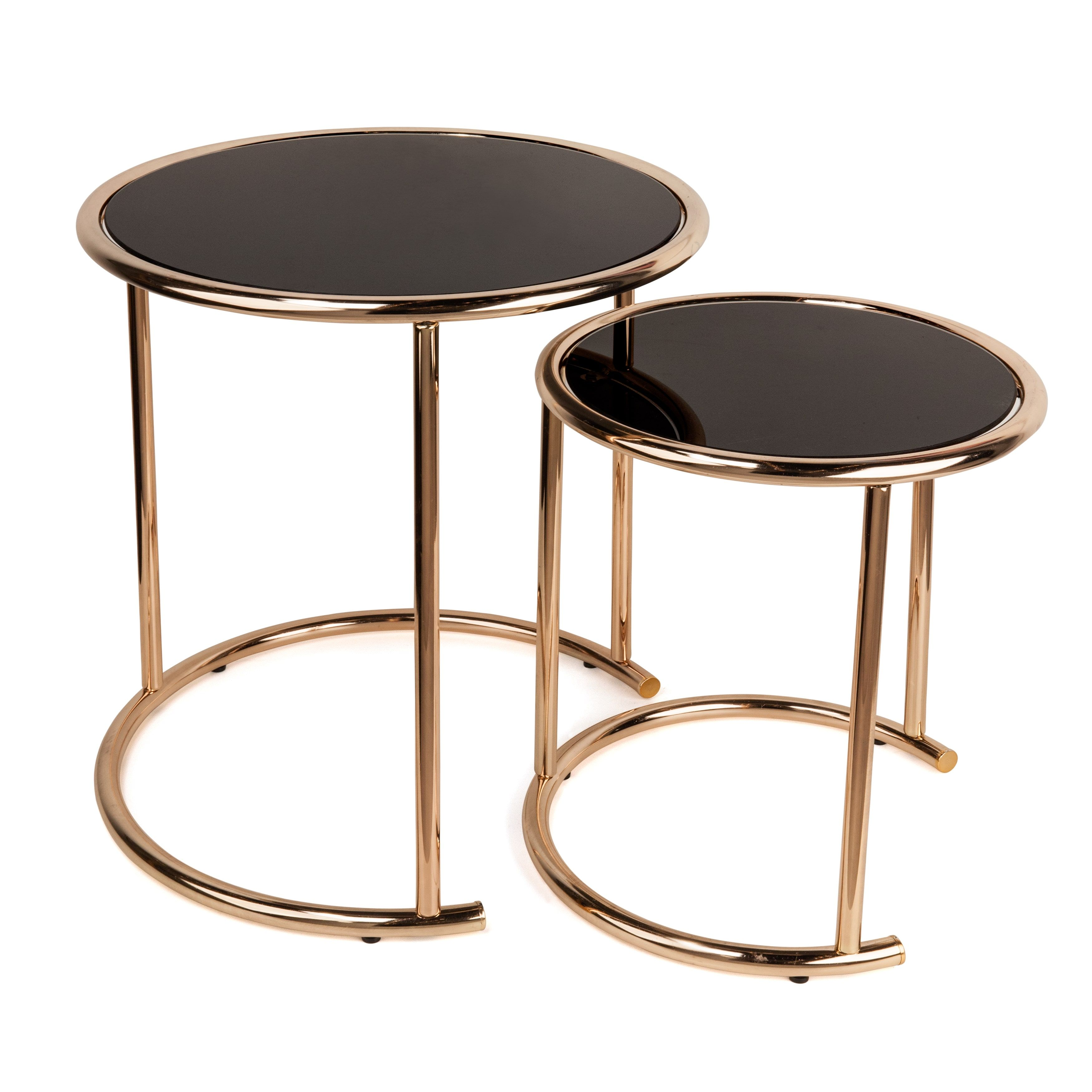 Danya B™ Set Of 2 Nested Round End Tables With Black Glasstop And Rose Gold  Metal Frame By Danya B