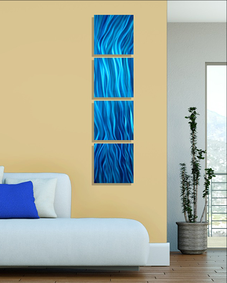 Modern Abstract Blue Metal Wall Art Painting Home Decor - Great ...