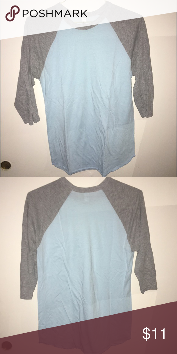 Baseball 3/4 Sleeve T-Shirt - AA Baby blue & gray baseball 3/4 sleeve shirt from American Apparel - size medium , only worn a couple times and is clean American Apparel Shirts Tees - Long Sleeve