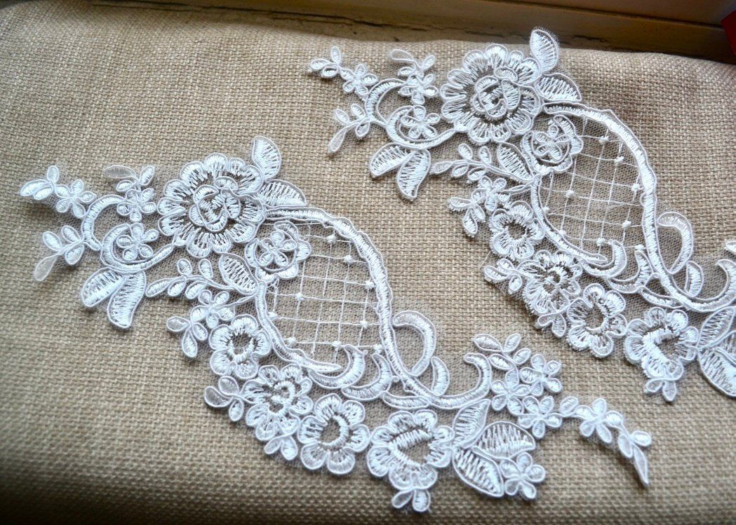 White lace applique bridal lace patch wedding supply in
