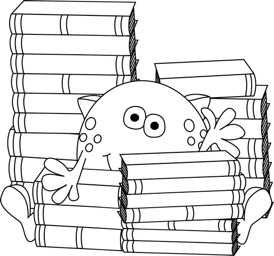 Black And White Monster Surrounded By Books Clip Art Black And White Monster Surrounded By Books Image Book Clip Art Clip Art Art Classroom