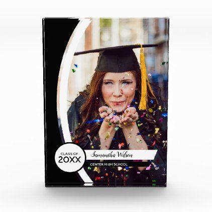 Black Curved Frame Photo Graduation Acrylic Award