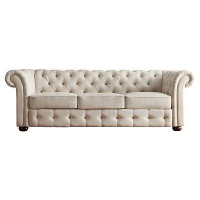 Inspire Q Chesterfield Sofa - Oatmeal