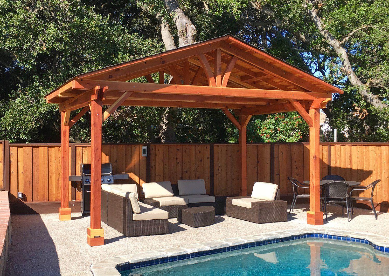 Del Norte Pavilion Options 17 X 11 Redwood 4 Post Kit For Concrete No Ceiling Fan Base Transparent Premium Sealant Outdoor Kitchen Del Norte Pavilion