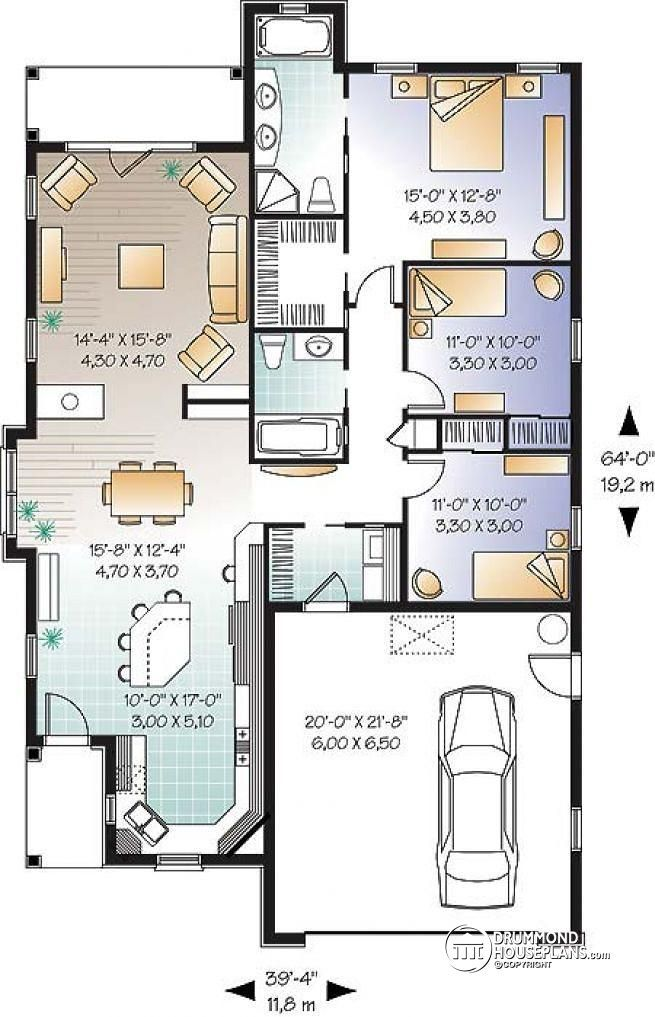 W3248 mediteranean 3 bedroom single storey with double for Double garage plans