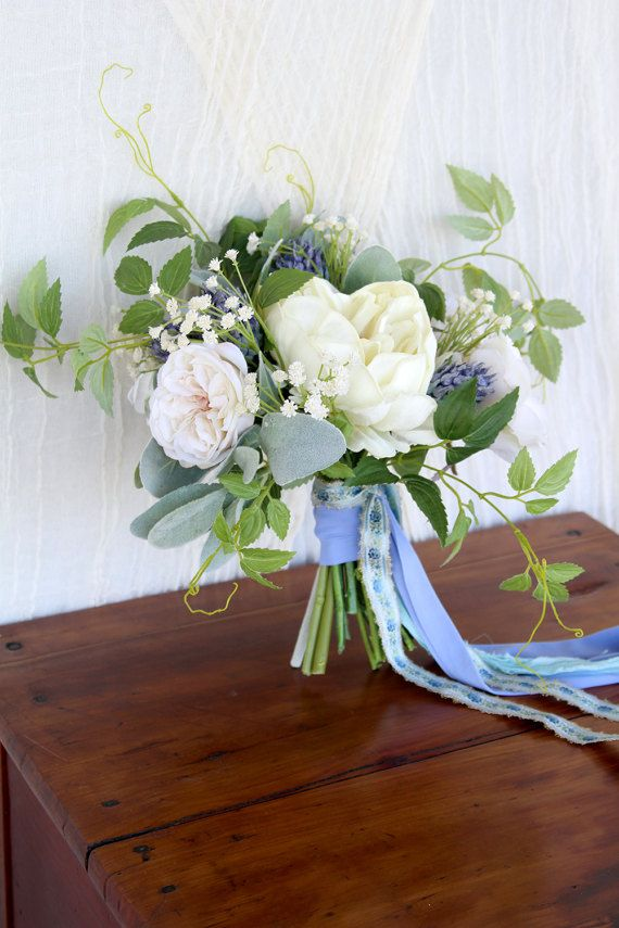 Something blue wedding bouquet wild and loose silk flower bridal something blue wedding bouquet wild and by southerngirlweddings mightylinksfo