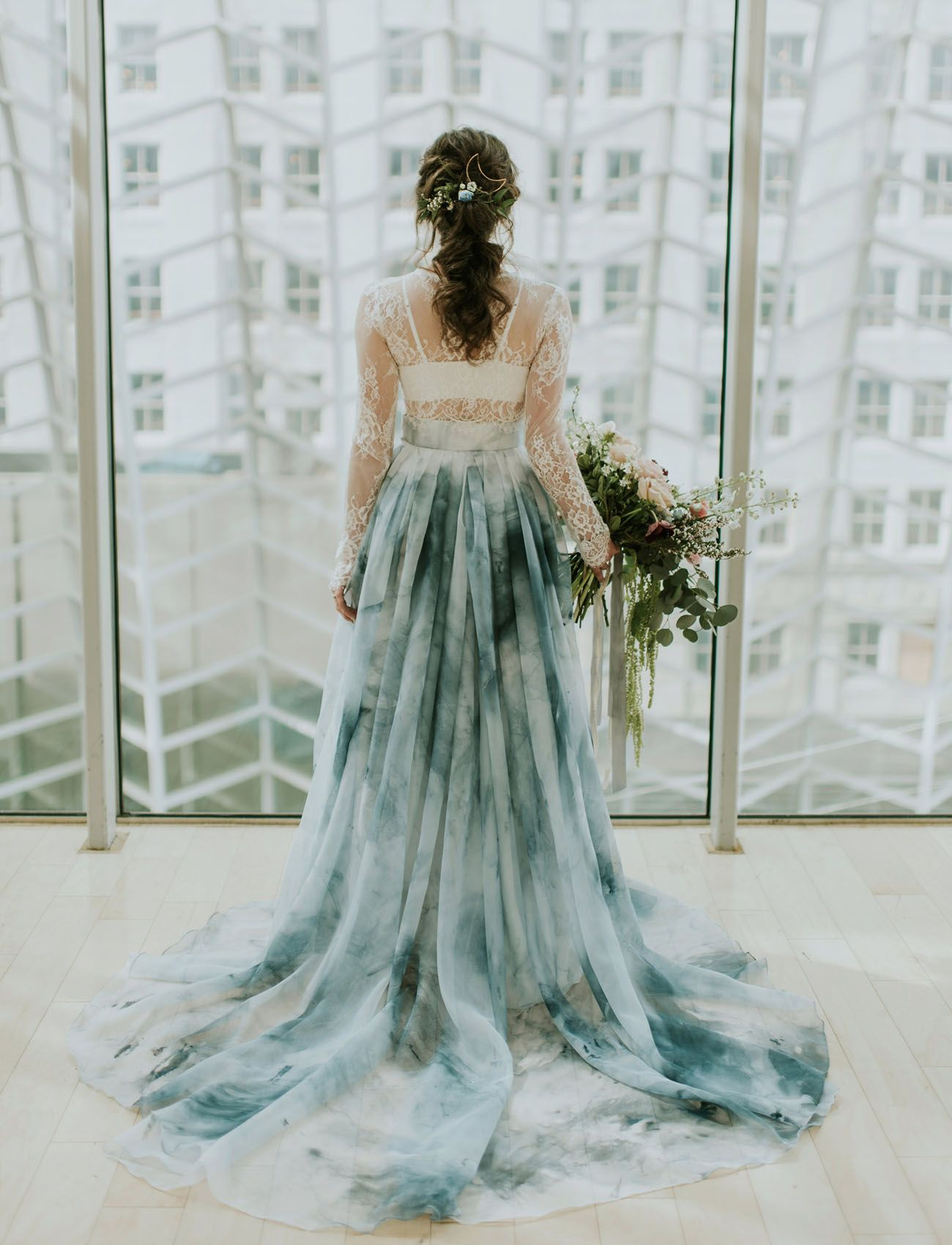A Blue Watercolor Wedding Dress Green Wedding Dresses Two Piece