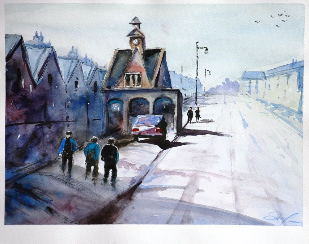 Street Scnene II. Watercolor Painting for sale