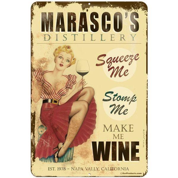 Wine Distillery 12 X 18 Custom Metal Bar Sign ($19) ❤ liked on ...