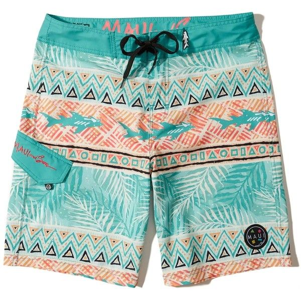 Hollister Maui and Sons Boardshorts (190 BRL) ❤ liked on Polyvore featuring men's fashion, men's clothing, men's swimwear, turquoise pattern and mens board shorts swimwear