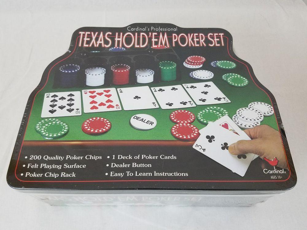 Cardinals professional texas holdem poker set sealed tin