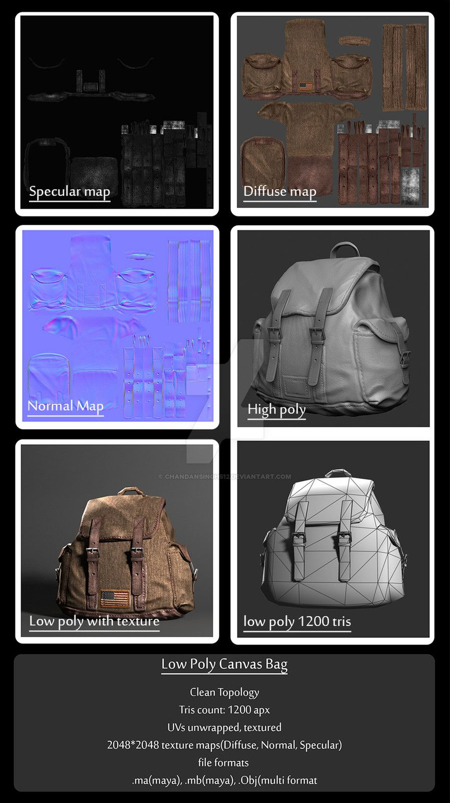low_poly_canvas_bag, Chandan Singh on ArtStation at https://www.artstation.com/artwork/kwwz6