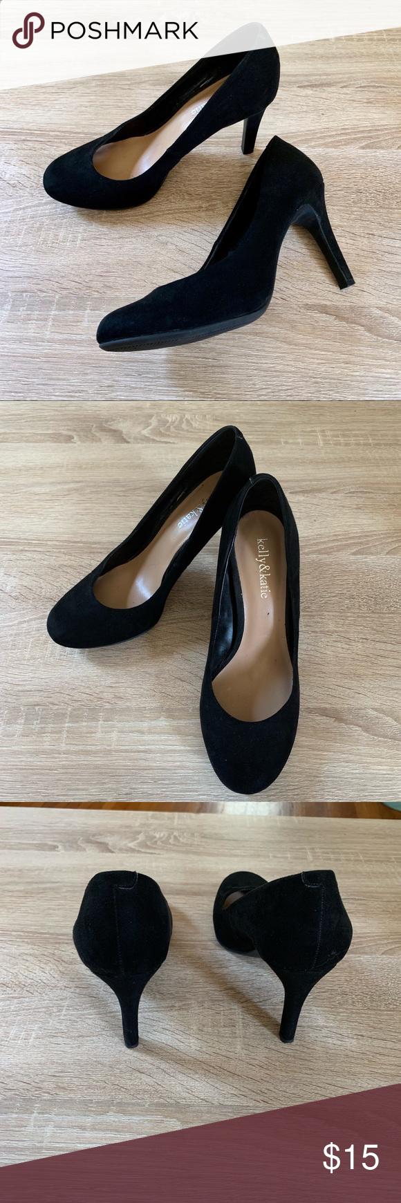 Kelly Katie Kitten Heels Round Toe Black 7 5 Shoes Women Heels Heels Work Heels