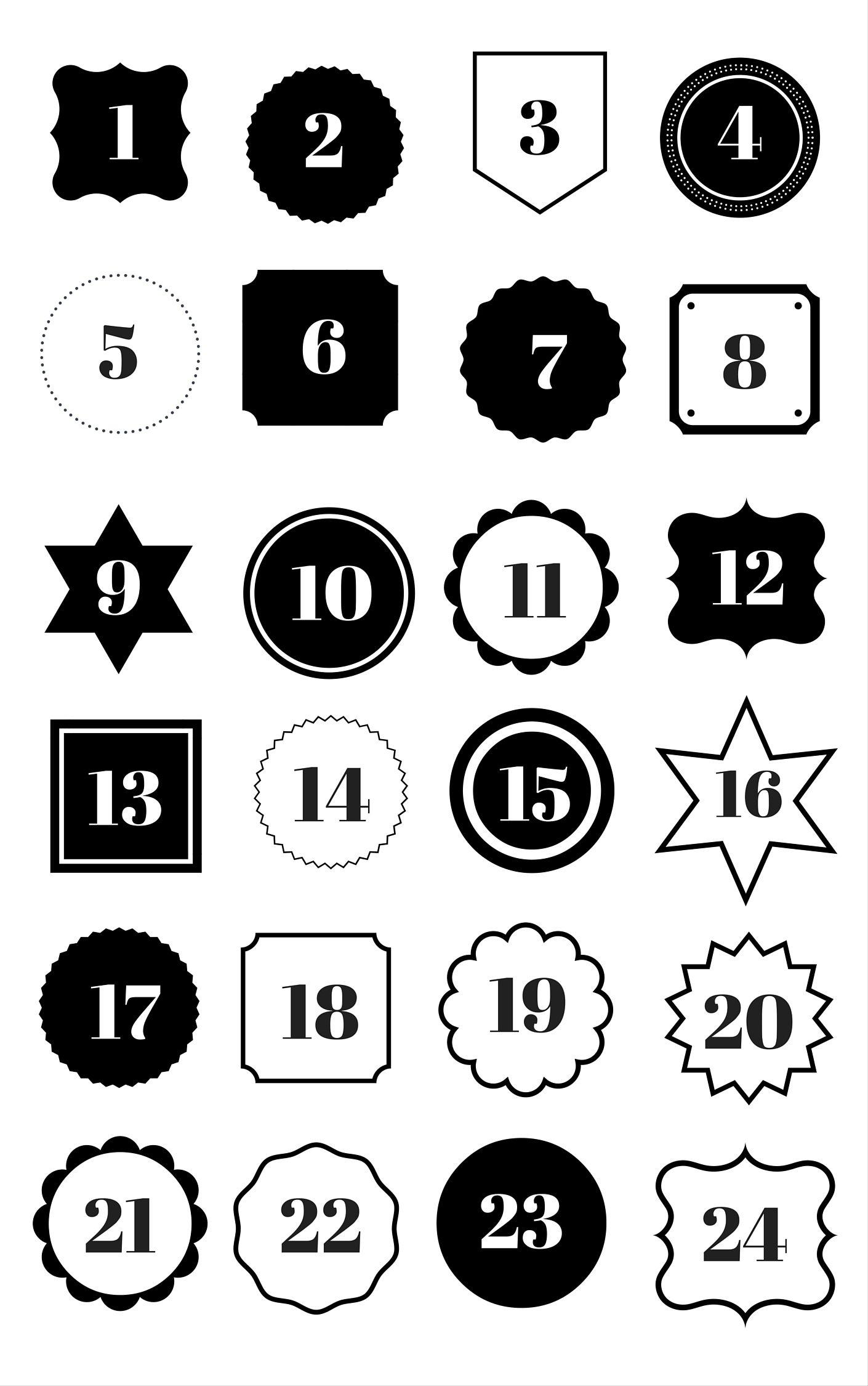 Adventskalender Zahlen zum Ausdrucken | Advent calander, Xmas and ...