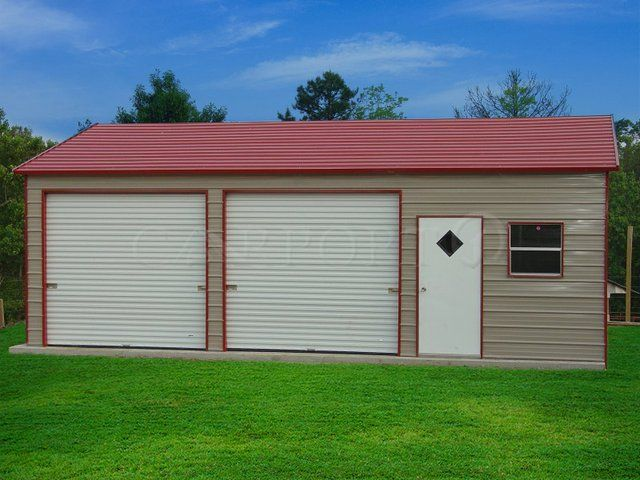 Best 24X36 Boxed Eave Roof Double Car Garage Image Prefab 400 x 300