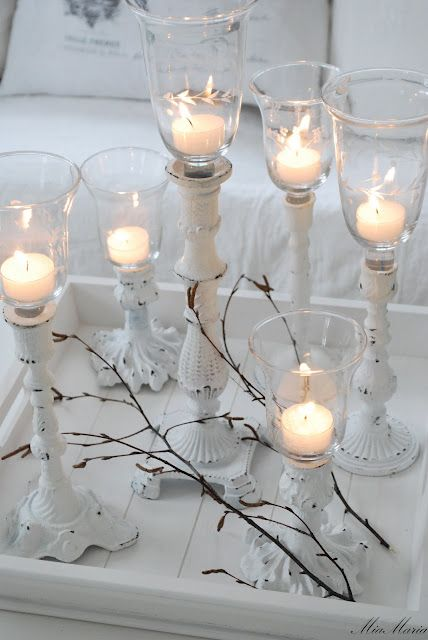 put some evergreen around these & add in some tiny bulbs & you get a beautiful Christmas centerpiece
