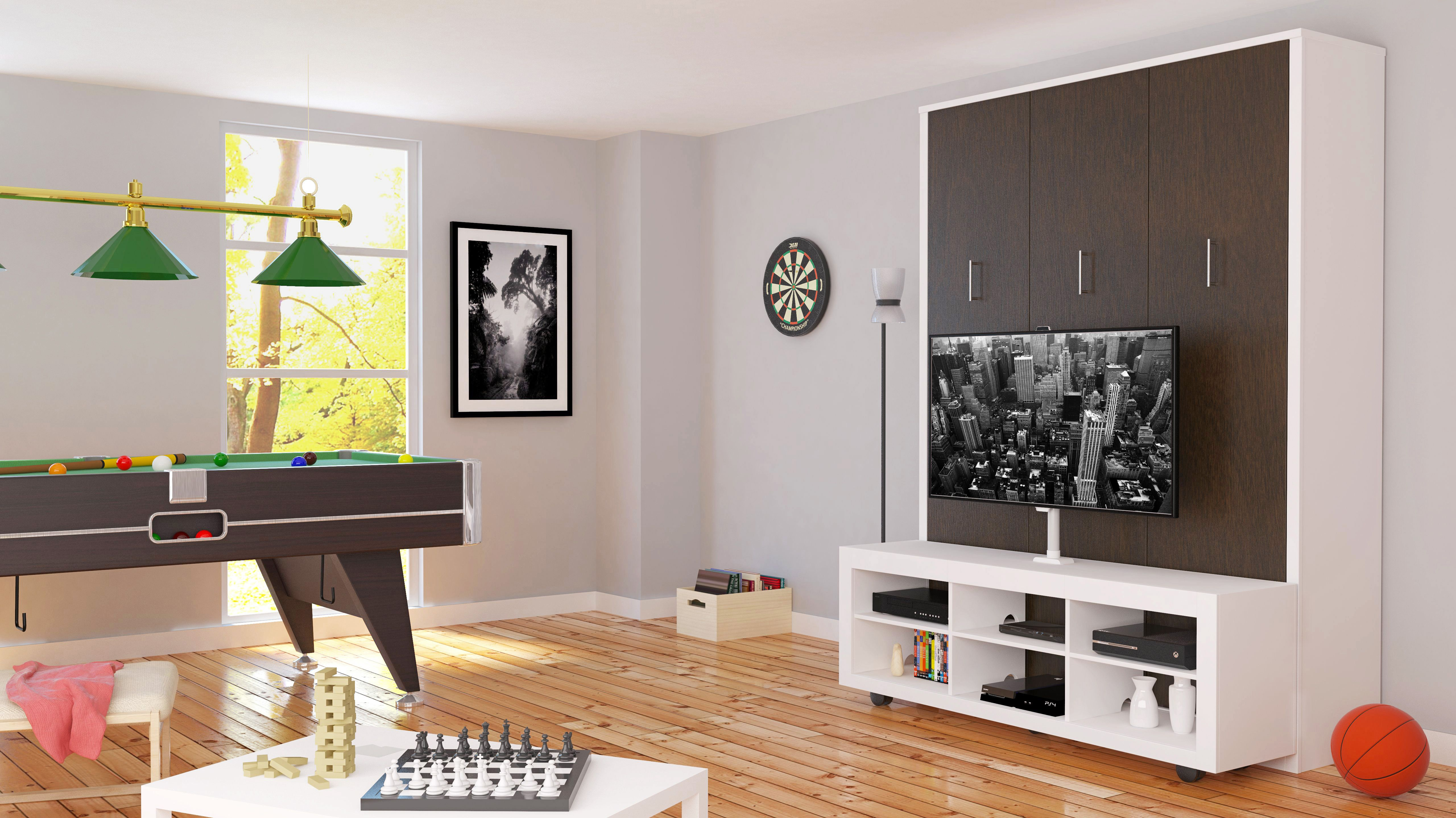Queen Portrait Wallbed with TV Stand Bed wall, Living