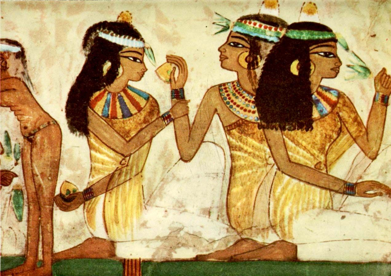 Ancient egyptian wall paintings 1956 tomb of nakht banqueting