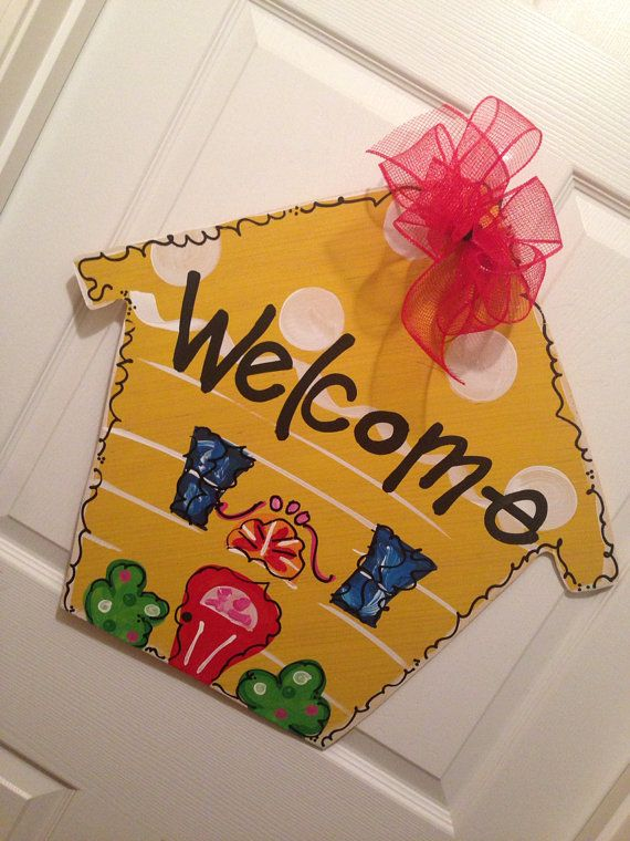 Welcome House Door Hanger Wooden Wreath outdoor house Wood Cut Out Decor on Etsy, $35.00