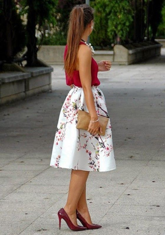 White Flowers Print Pleated High Waisted Skirt - Skirts - Bottoms ...