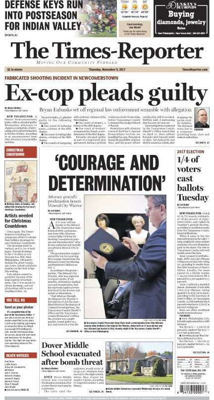 The TimesReporter front page for Nov. 9, 2017. www