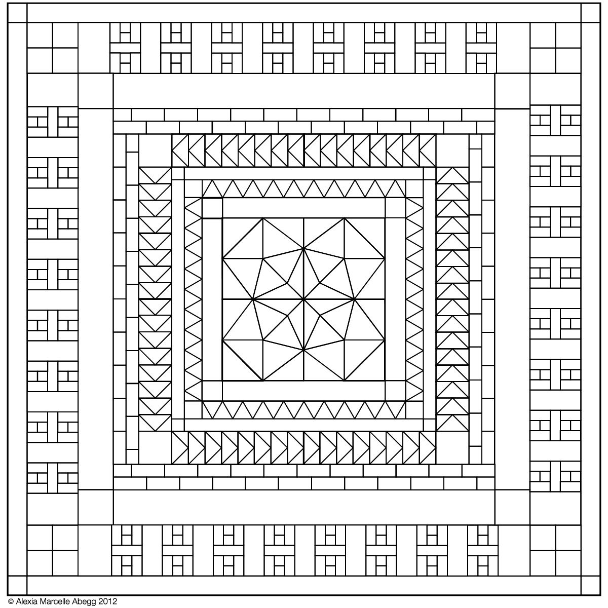 Green Bee Patterns Marcella medallion coloring page | Quilting tutes ...