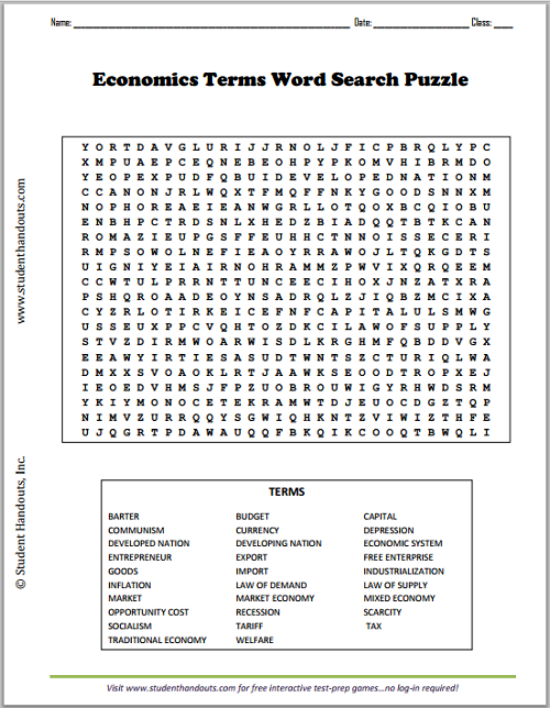 Economics Terms Word Search Puzzle Social Studies
