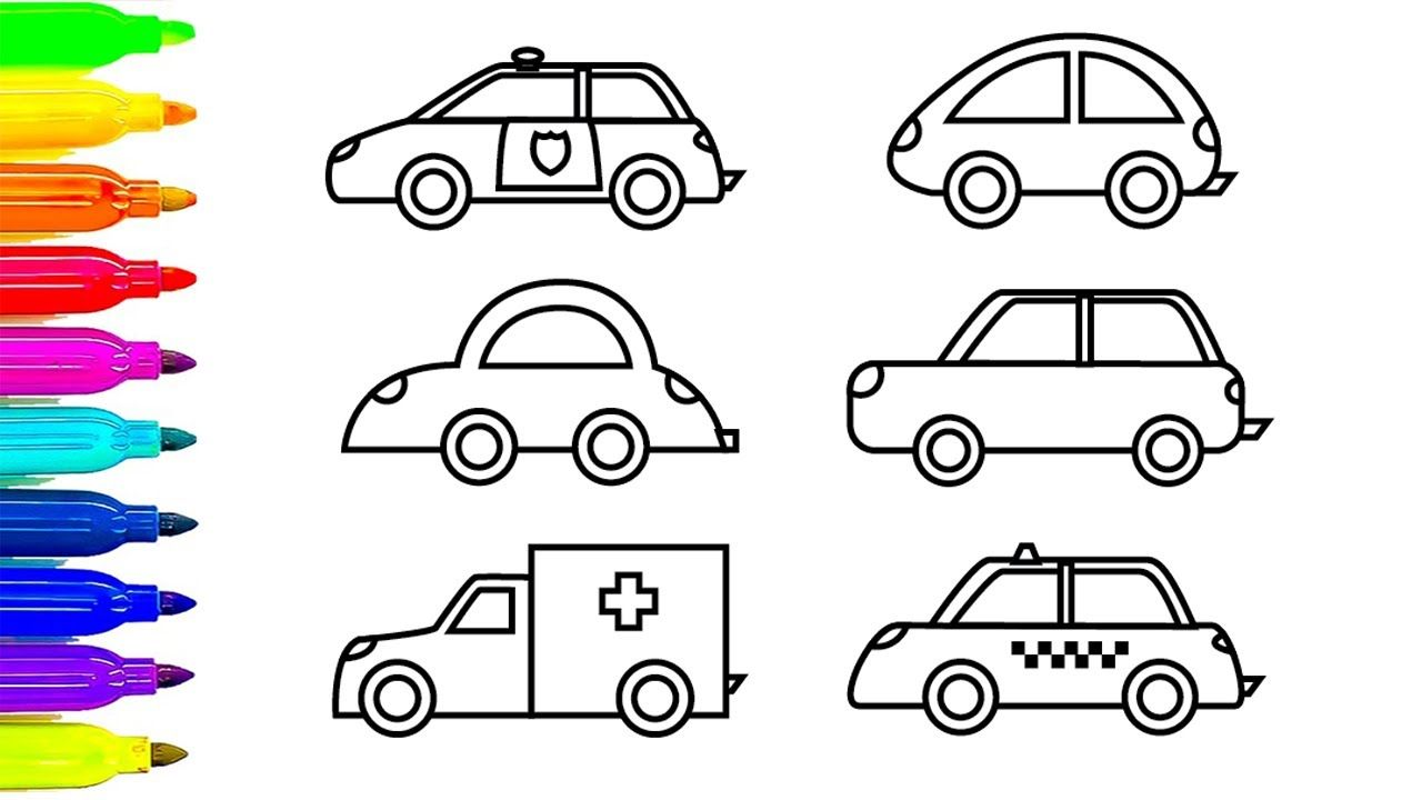 Car Coloring Pages, Learn Colors for Kids with Ambulance and Police ...
